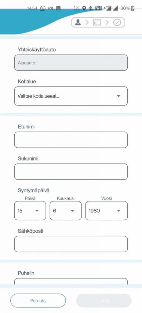 Rekisteröitymislomake